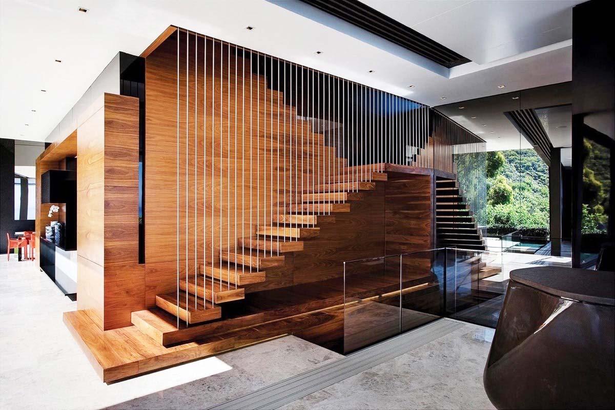 Mẫu cầu thang nhà 2 tầng đẹp dạng chữ U