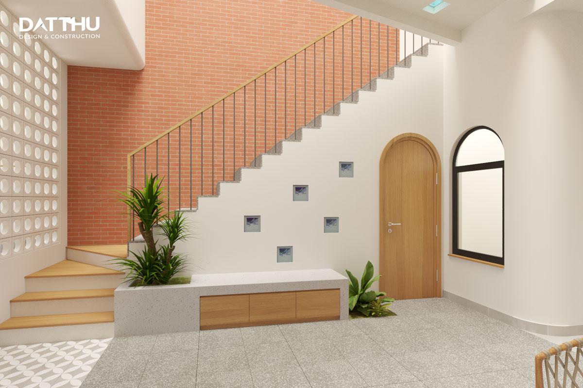 Cầu thang dưới giếng trời